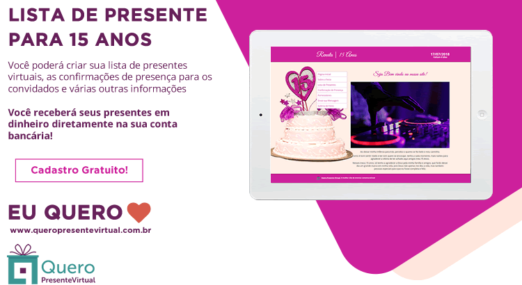 Site de 15 anos presente virtual